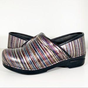 Dansko Leather Multicolor Stripe Clogs Shoes SZ 42